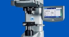 The Wilson VH1202 universal micro-hardness tester features deadweight loads from 10 g up to 2 kg and nine different, automatically selectable loading stages. It is equipped with a six-position turret, including two indenters for both Knoop and Vickers, and an additional objective with 5X magnification at long working distance.  (Photo courtesy of PRNewsFoto/Buehler)