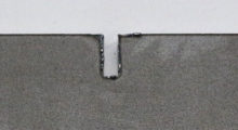 A cut made without the power ramping feature. Power ramping is typically meant to be used when cutting with air or nitrogen in thinner materials that are 3 mm (0.12 in) thick or less. The best applications are in thin to mid-range material when nitrogen is used as the assist gas to increase the edge quality when cutting large contours. The power ramping feature is not as beneficial when cutting with oxygen because of changes to the properties of the assist gas and the decreased feed rates that occur.