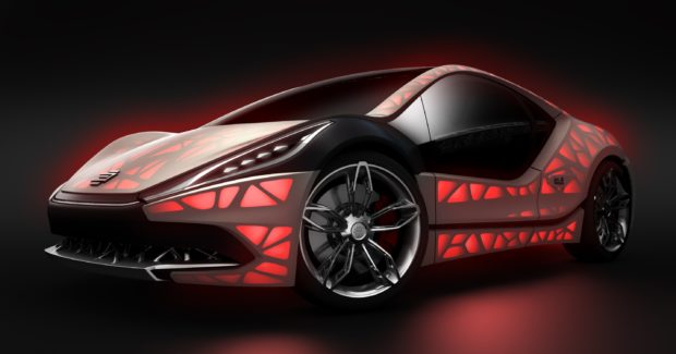 The EDAG Light Cocoon concept car is the visionary embodiment of a compact sports car with a completely bionically optimized and additively manufactured vehicle structure that is combined with an outer skin made from weatherproof textile material and a variable light design. (Photo courtesy of EDAG Engineering)