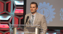 Joel Neidig with ITAMCO gives his acceptance speech for the 2016 Next Generation Award from the American Gear Manufacturers Association.