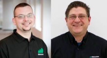 Shawn Buboltz (left) has been promoted to national service manager and Roger Breeggemann (right) has been promoted to service coordinator at Matsuura Machinery USA..