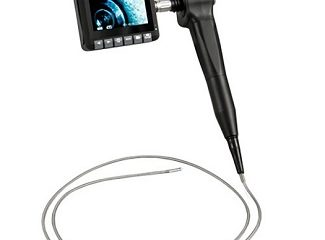 The PCE-VE 650 borescope features a detachable 3.5-inch LCD display, a rotating camera head (±90 degrees) with five lighting levels, and nearly 5 ft of cable.