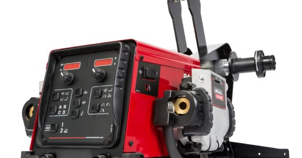 The FlexFeed 84 Dual Semiautomatic Wire Feeder features digital meters with preset voltage and wire-feed speed. It displays actual voltage and current during welding and also offers four user memories to save repeated procedures. The system also allows the welding engineer to set passcode-secured limits and lockouts to control welding procedures.
