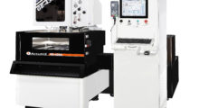 """Booth S-8536: Affordable AccuteX """"Great Economy"""" (GE) Wire EDM machines from Absolute Machine Tools feature automatic wire threading and can reach 33.5 sq in/hr cutting speeds using 0.012 in high speed wire. Their AccuteX SD (Stable Discharge) Master-powered servo control system enhances accuracy, repeatability and surface finish while minimizing the possibility of wire breakage."""