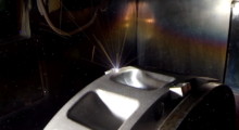 CNC-controlled electron beam welding achieved the locational accuracy and deep penetration needed to weld together four separate 3D printed aluminum heat exchanger sections into a single assembly that is the heart of the HVAC prototype system.