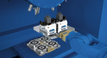 With a height of only 20 mm, the VERO-S NSE mini pneumatic quick-change module from SCHUNK is extremely thin, making it ideal for retrofitting existing machines to achieve full utilization of the machine area and direct clamping of small precision workpieces being manufactured for use in medical technology.