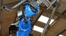 Frames are fabricated from 30 mm diameter steel tubing in up to two-meter lengths. Because the frame parts are bent very accurately with precision placement of the various bolt fixing holes, the tubes are swaged prior to bending and the holes are punched afterwards on a separate machine. The tube orientation station in the cell ensures that frames are bent in such a manner that holes are never punched through tube weld seams.