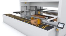The secure delivery interface window in the OnePick system from Modula can be integrated with a fully automated delivery and takeaway conveyor.