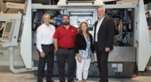 Present at the announcement of the equipment sale (l-r): Tom Worley, saws and end machining sales for BLM Group; James Brown, a sales executive for Tube Fabrication Industries; Julie Ellis, the president of Tube Fabrication Industries; and Andrew Dodd, a regional sales manager for BLM Group.