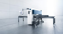 Booth C-35041: The compact, modular TruMatic 1000 fiber from TRUMPF is an entry-level punch laser combination with a solid-state laser that moves both the electric punching head and the laser along the Y-axis while the sheet moves in the other direction to increase machine dynamics, productivity and process stability, and connect with innovative material handling options to further increase production.