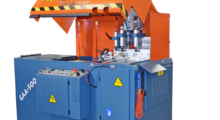 Booth C-24047: The GAA-500-90 DT large capacity upcut automatic saw from Scotchman cuts non-ferrous materials at 90 deg and uses a shuttle feed design with an adjustable vertical and horizontal clamp system to fit almost any profile.
