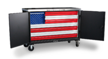 Booth N-1723: Constructed of 12 ga steel with a 7 ga stainless steel work top, the highly customized Mobile Tool Cart (TC-15717) from Strong Hold Products is a durable heavy-duty workhorse for mobility at the job site with a patriotic design.