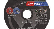 Booth N-2704: The newly redesigned Zip Wheel cut-off disc from Walter Surface Technologies is constructed with a proprietary grain blend and patented reinforced rib design on each side for faster, cooler cutting through steel and stainless steel.