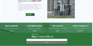The redesigned website of CAMCORP